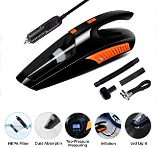 Car Vacuum, Fey-US Corded Car Vacuum Cleaner High Power for Quick Car Cleaning, 12V Portable Auto Wet/Dry Vehicle Vacuum Cleaner with Tire Inflator Pump Pressure Gauge and Led Lights