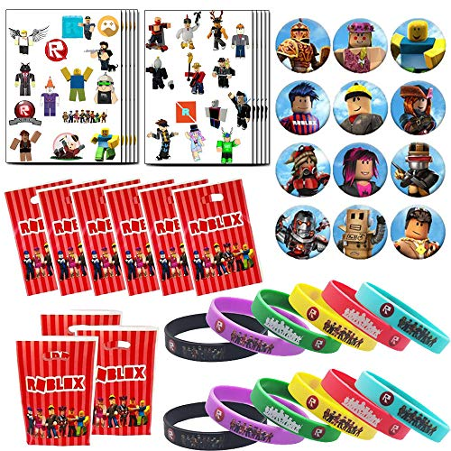 Robot Blocks Game Favor de fiesta de cumpleaños para fanáticos - Robot Blocks muñequeras, tatuajes temporales, bolsas de regalo e insignias para artículos de fiesta temáticos de videojuegos