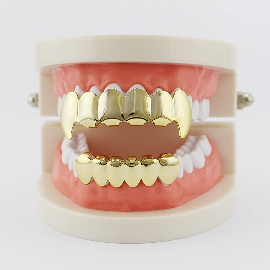 メニュー驚いたことにブルジョンジュエリーギフトのためのヒップホップユニークな歯キラキラの歯バーベキューヒップホップヨーロッパと金メッキの歯ハロウィーンハロウィーンの装飾の小道具ユニセックス,Gold