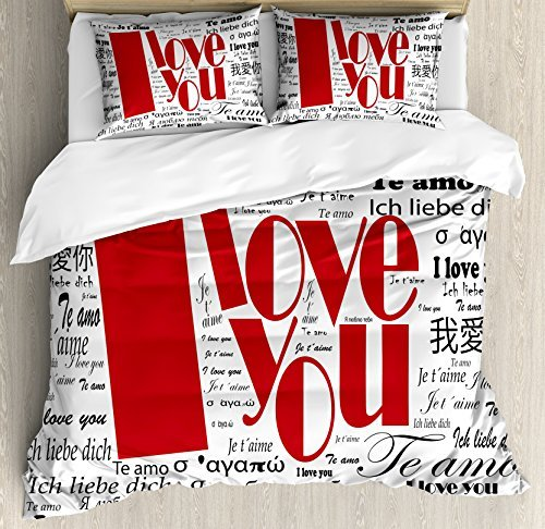Ambesonne I Love You Duvet Cover Set, Newspaper Love Words Contemporary Happy Mothers Day, Decorative 3 Piece Bedding Set with 2 Pillow Shams, King Size, White and Black