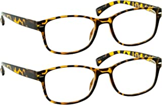 Reading Glasses 2 Pack Tortoise Always Have a Timeless Look, Crystal Clear Vision, Comfort Fit with Sure-Flex Spring Hinge Arms & Dura-Tight Screws 100% Guarantee +2.25