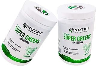 Nutrii - #1 Organic Super Greens + Digestion, Turmeric and Ashwagandha Infused, Veggie Superfood, Antioxidant, Vegan Supplement, Amazing Lemon/Mint Flavor, Organic Stevia Leaf (10.89oz, 30 Serv)