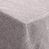 femor 150x200 cm Tischdecke Tischtuch Leinenoptik Lotuseffekt Wasserabweisend Fleckschutz pflegeleicht schmutzabweisend abwaschbar Tischwäsche eckig Taupe