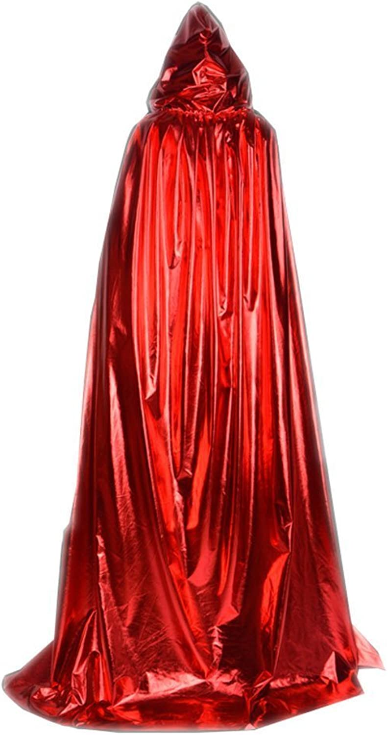 Beautifulfashionlife Hooded Cloak Role Cape Play Flared Costumes Metal Red 170cm