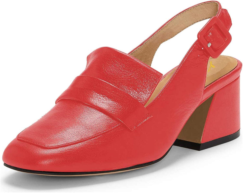 YDN Women Block Low Heel Loafers Slingback Pumps Almond Toe Slip on Office shoes
