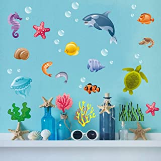 Underwater Sea Life Wall Decals, Shark, Turtle, Seaweed, Jellyfish, Starfish Stickers, Nautical Animal&Tropical Vinyl Wall Art for Kids Room Toddler Nursery Home Decor