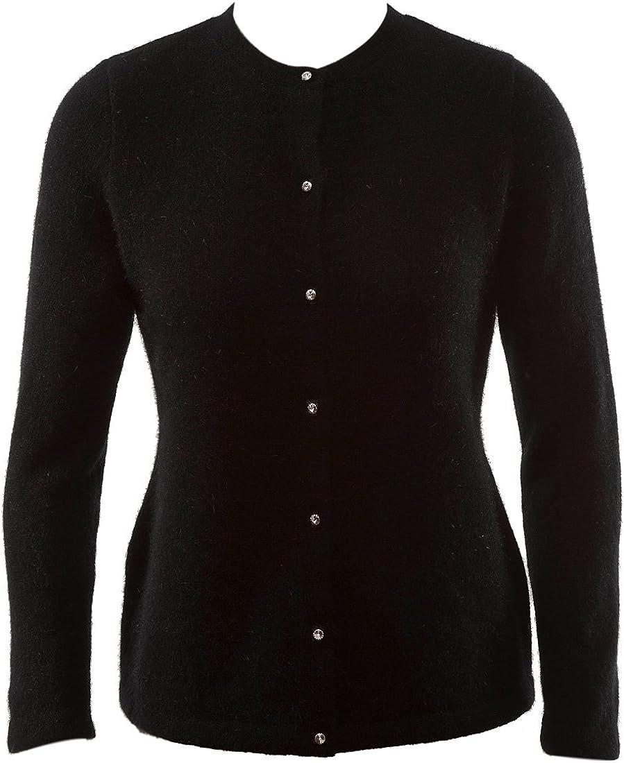 New Zealand Wool/Brushtail Possum Blend Cardigan Genuine Swarovski Buttons Women's