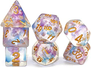 DND Dice Set-Purple Mix Blue RPG Transparent Dice for D&D Dungeons and Dragons Role Playing Game Dice Swirl Series Polyhedral 7-Die Set