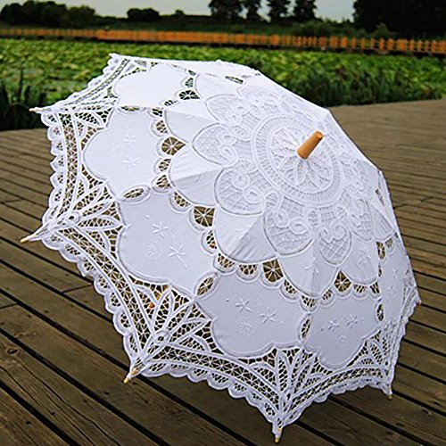 Vintage Lace Parasol Umbrella for Bridal Wedding Party Decoration Photo Props Costume Accessory (White)
