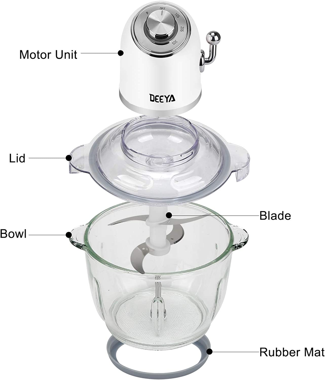 Rosa Obst und N/üsse Universalzerkleinerer BPA-freie Glassch/üsselmischer f/ür Fleisch Gem/üse DEEYA 300 W Elektrischer Zerkleinerer mit Glasbeh/älter Lebensmittelhacker