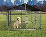 ASJMR Large Dog Kennel Dog Cage Dog Playpen Galvanized Steel Dog Fence Outdoor Chicken Coop Hen House Pet Playpen,UV & Water Resistant Black Proof Cover & Secure Lock(W 118' x D 118' x H 70')