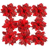 NUOBESTY 24 Pieces Christmas Glitter Poinsettia Flowers Christmas Tree Ornaments Artificial Christmas Flowers for Xmas Wreath Decoraiton (Red)