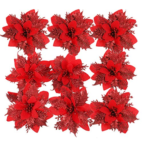 TOYANDONA 24 Pieces Christmas Glitter Poinsettia Flowers Christmas Tree Ornaments Artificial Flowers for Christmas Wreath Decoraiton (Red)