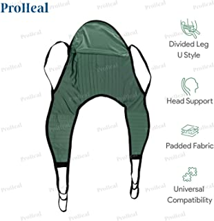 """ProHeal Universal Padded Lift U Sling with Head Support, X Large, 62""""L x 27.5""""W -Polyester Divided Leg Patient Lift Slings -Compatible with Hoyer, Invacare, McKesson, Drive, Lumex, Medline, Joerns"""