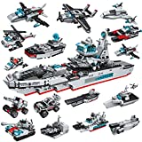 City Police Military Battleship Building Blocks Set, 700 PCS Aircraft Carrier Toys 17-in-1 Military Toys for 6 Year Old Boys Building Bricks Vehicles Blocks Kit for Kids 6 7 8 9 10 11 12 Year Old