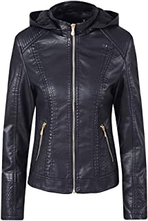 DISSA P1861 Women Faux Leather Hood Jacket Slim Coat Leather Jacket