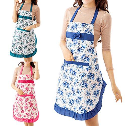 super1798 Women Floral Pattern Restaurant Home Kitchen Cooking Dress Cotton Apron Bib