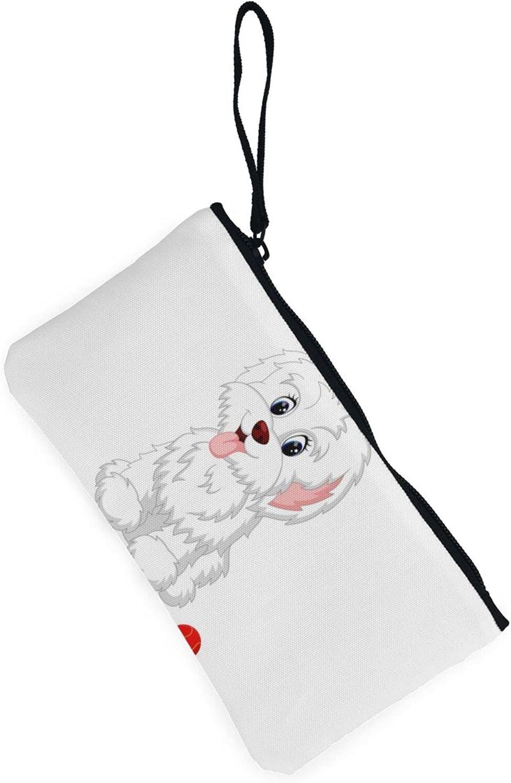 AORRUAM Dog Cute Tennis Ball Canvas Coin Purse,Canvas Zipper Pencil Cases,Canvas Change Purse Pouch Mini Wallet Coin Bag