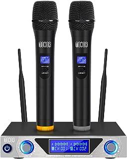 Sistema de micrófono de mano inalámbrico TONOR VHF con micrófonos dinámicos de mano duales y pantalla LED para reuniones de clase de fiesta de karaoke
