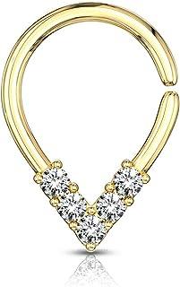 Anello per setto nasale in oro con gemma trasparente per setto nasale Daith Tribale cartilagine Helix V forma pieghevole