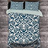 Toopeek Abstract - Pack de 3 (1 funda de edredón y 2 fundas de almohada), diseño floral ornamental, flores de damasco, diseño curvy, diseño artístico de poliéster, color azul y blanco