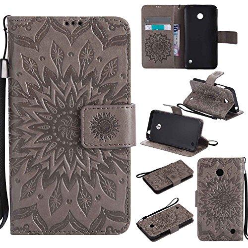 pinlu® PU Leder Tasche Etui Schutzhülle für Nokia Lumia 630 635 Lederhülle Schale Flip Cover Tasche mit Standfunktion Sonnenblume Muster Hülle (Grau)