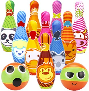 Dreamon Kids Bowling Set 10 Pins and 2 Balls with Storage Net Bag, Boys Girls Toddler Games Educational Sports Toys Age 2 3 4