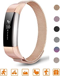Tinkel Replacement Metal Bands Compatible with Fitbit Alta and Alta HR Stainless Steel Metal Bracelet Strap Adjustable Replacement Strap for Women Men - Rose Gold