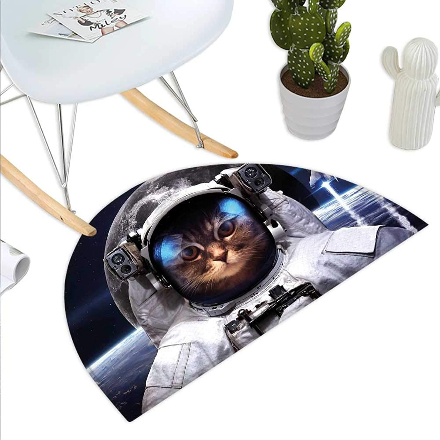 Space Cat Semicircle Doormat Cat in Cosmonaut Outer Space Clothes in Cosmos Travel with Rocket Halfmoon doormats H 43.3  xD 64.9  Navy bluee White and Red