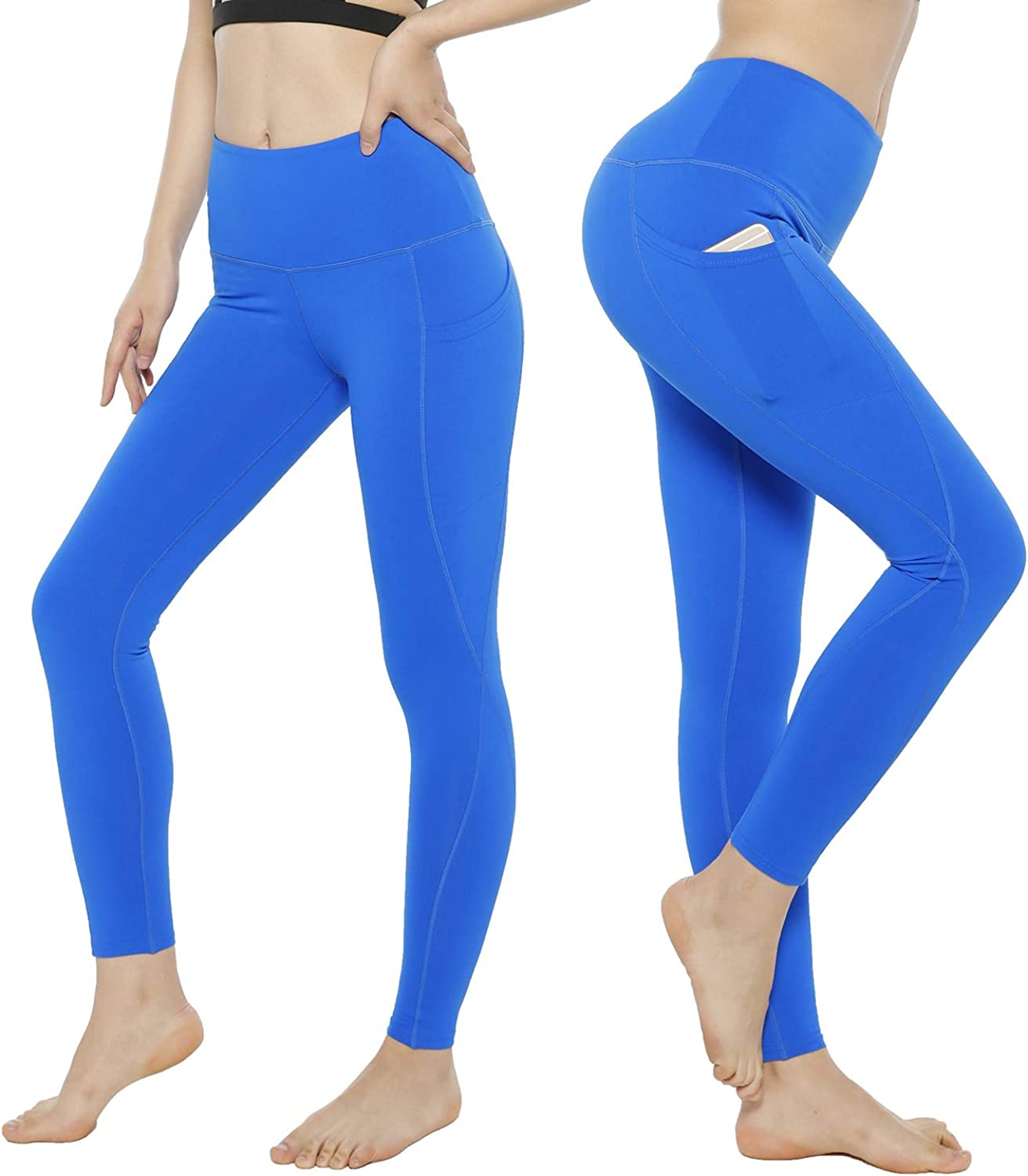KT Tummy Control Yoga Leggings  High Waisted Super Compression Workout Leggings  Womens Fitness Postpartum Leggings Pants with Pockets (Small, blueeSide Pockets)