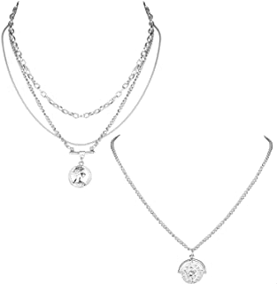 Epinki Silver Plated Double Layers Necklace Silver Double Layered Bead Zircon Chain Necklace for Women and Girls