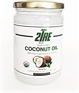 2Tre Organic Extra Virgin Coconut Oil - Unrefined Cold Pressed Coconut Oil for Hair, Skin and Cooking - 16 oz