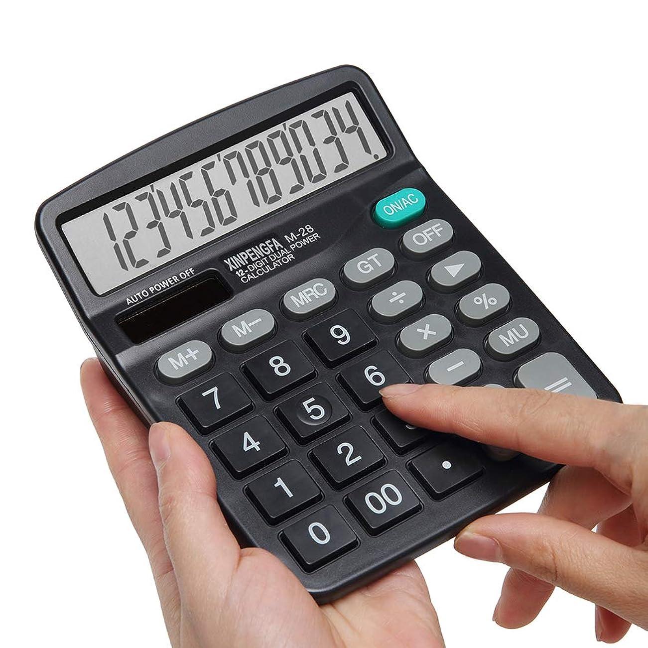 正当なバックアップ割り当てXinpengfa電卓 ソーラーバッテリー デュアルパワー 大型液晶ディスプレイ付き 12桁 基本オフィス電卓 単3電池1個付属