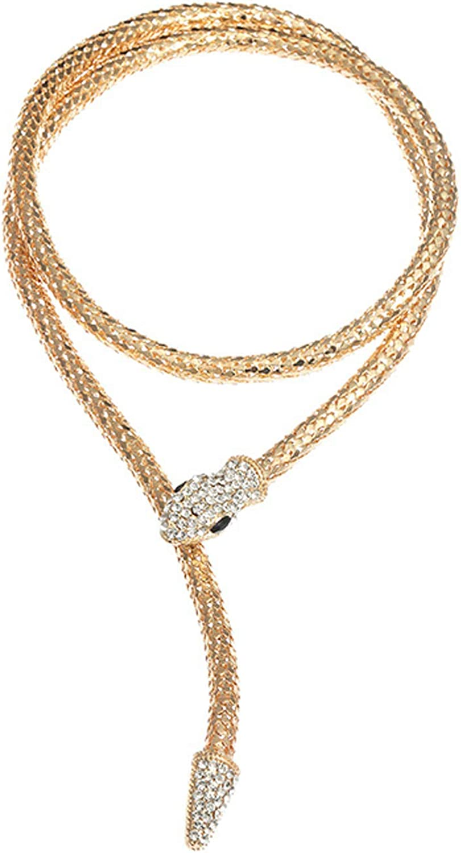 Snake Choker Necklace Bracelet Retro Adjustable Snake Shape Collar Necklace Curved Bar Design Full Rhinestone Accessories Halloween Statement Fashion Jewelry for Women Girls
