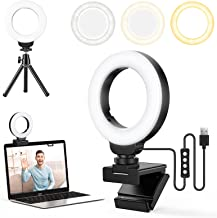 FDKOBE 4'' Small Ring Light for Laptop/Computer, Zoom Call Lighting, Video Conference Lighting with Webcam Style Mount and...