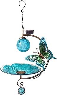 Sunset Vista Designs Butterfly Solar Bird Feeder - Sculpted Metal Butterfly & Crackle Glass Globe