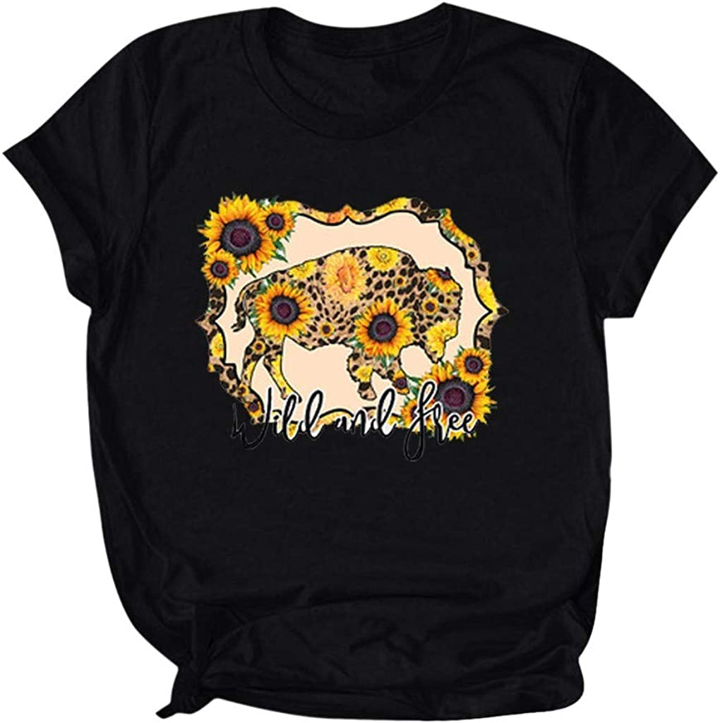AODONG Women's Short Sleeve Shirts Sunflower Graphic Tees Printed T-Shirt Short Sleeve Tops Teen Girls Blouse Shirts