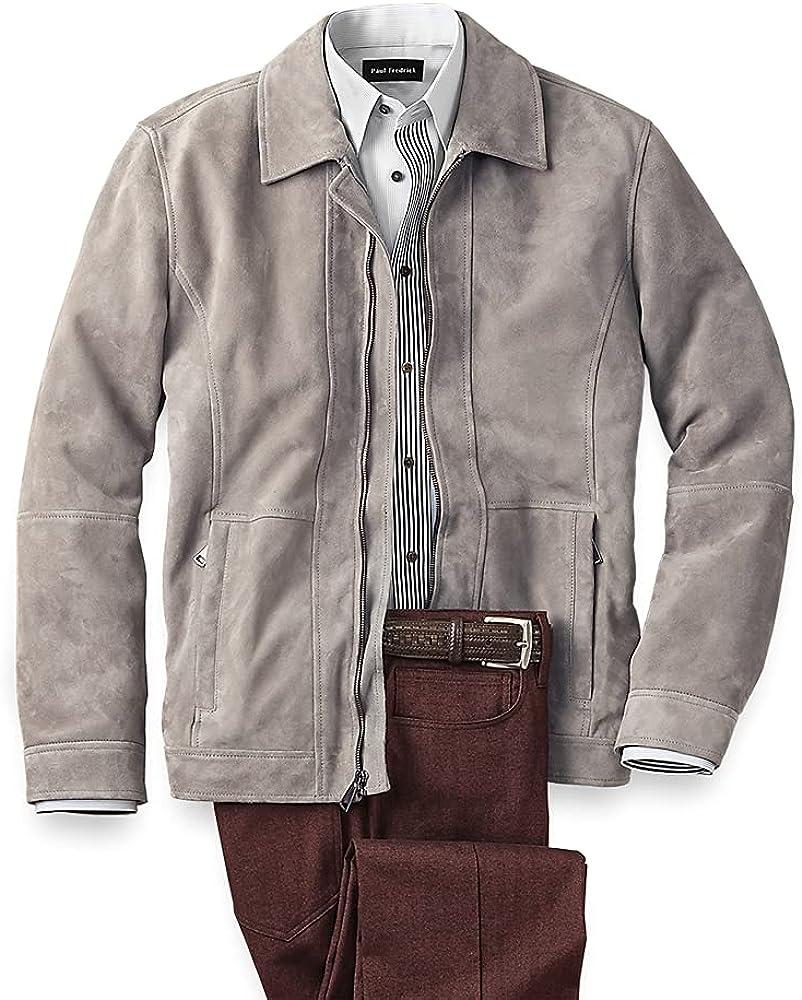 Paul Fredrick Men's Suede Bomber Jacket, Grey