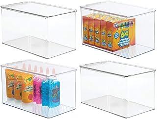 mDesign (lot de 4) boîte de rangement pour articles de bricolage et de couture – boîte en plastique avec couvercle – casie...