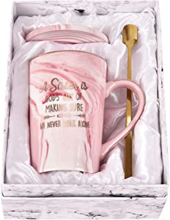 Sister Coffee Mug a Sister is God's Way of Making Sure Never Walk Alone Funny Marble Coffee Cup Birthday Christmas Anniversary Gifts for Sister Women Her Girlfriend 14 Ounce with Gift Box