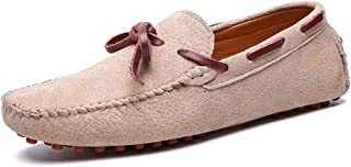 2019 Men's Casual Comfort Massage Shock Absorption Personality Lacing Boat Moccasins Fashion Driving Loafers (Color : Apricot, Size : 6.5 UK)
