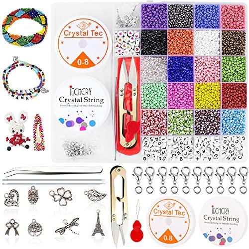 Frasheng Cuentas de Colores,3mm Mini Cuentas,10240 Piezas Cuentas Letras,Abalorios Cristal,Herramienta de abalorios,Set...
