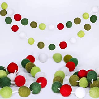 Supla 50 Pcs 8.2' Long Christmas Felt Balls Pom Pom Garland Holiday Felt Ball Garland Strand Red White Green Wool Ball Garland for Christmas Tree Mantel Wall Baby Room Nursery Party Vintage Décor