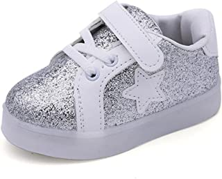 """Amiley Baby Fashion Star Sneaker LED Luminous Child Toddler Casual Colorful Light Bling Bling Shoes (Inches:6.7"""", Silver)"""