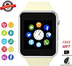 Smart Watch Phone Smartwatch with Camera Pedometer Call Text SNS Sync SIM Card Slot TF Card Music Player Alarm Compatible with Android and IPhone (Partial Functions) for Men Women Teens (Off-white)