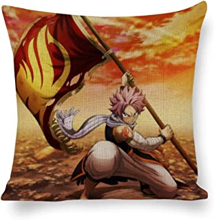 QiuHeCR Decorated Cotton and Linen Throw Pillow Animation Fairy Tail(110),Classic Animation,Adult Unisex Crew 4040cm