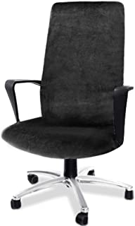 Best CAVEEN Computer Office Chair Cover Stretch Velvet Fabric Rotating Chair Slipcovers Removable Washable Anti-dust Chair Seat Covers Furniture Protector Covers Black Large Review