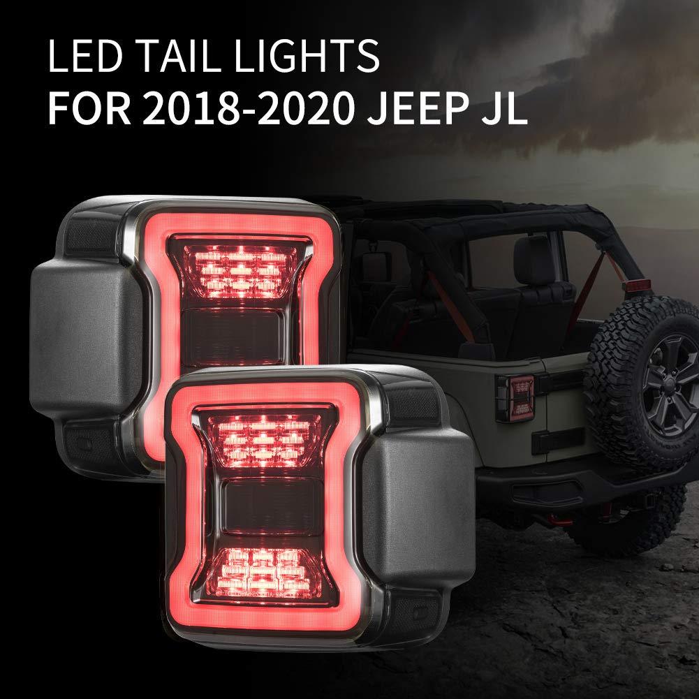Jeep Rear Lights Jeep Wrangler LED Tail Lights with Brake Light /& Reverse Light,JK JKU 2007-2017 FIREBUG Smoked Jeep Wrangler Tail Lights Jk TailLight,Led Tail Lights for Jeep Wrangler