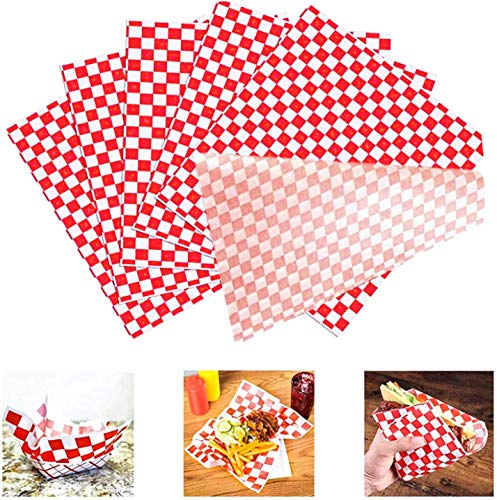"100 Greaseproof Carta Cerata Papers Food Wrap Cottura Papers Fai da Te Hamburger per alimenti a scacchi fodere per cestini resistenti all'olio 10 ""x 11"