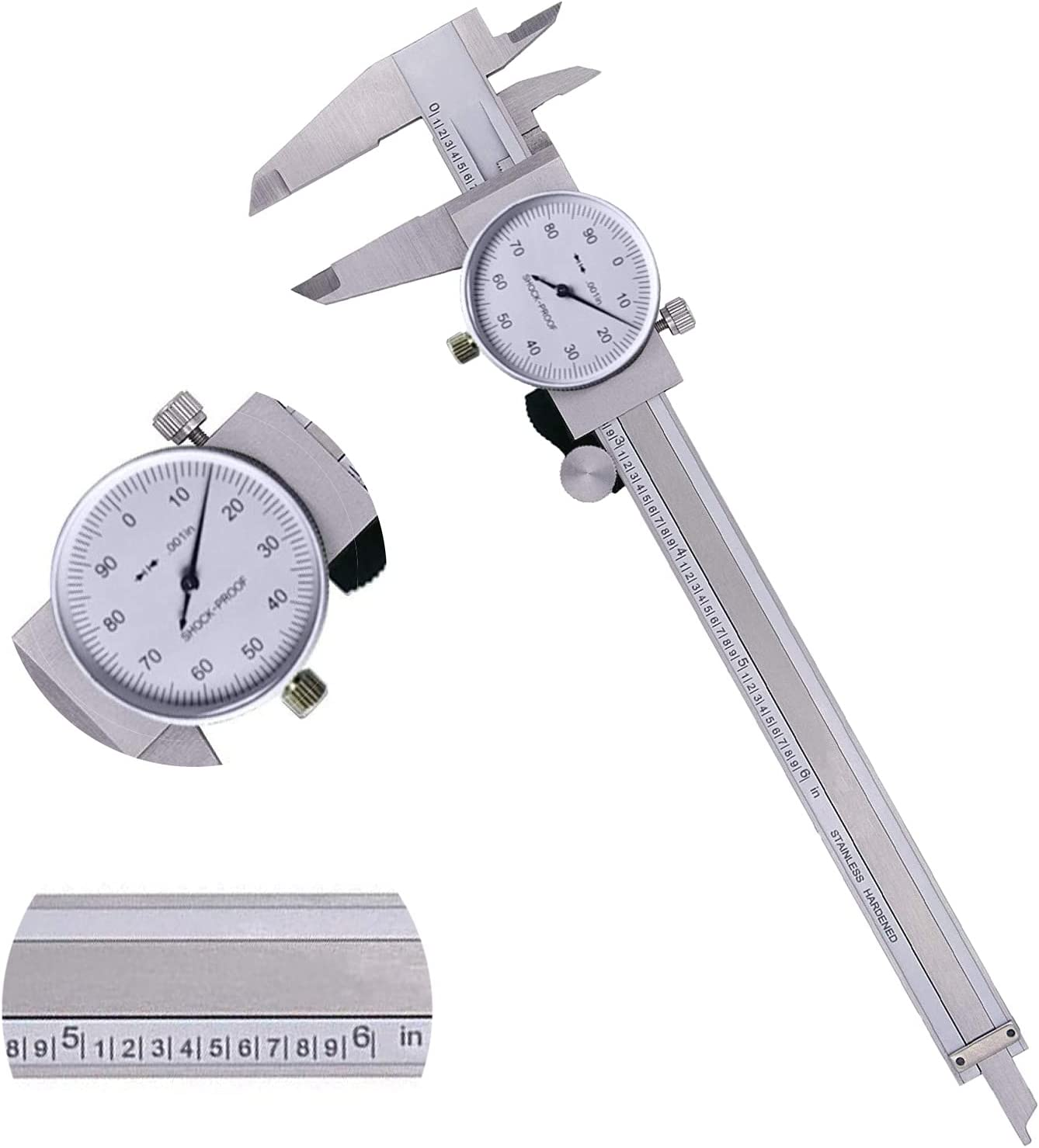 0~6inch 40% OFF Cheap Sale Dial Caliper Measuring Tool Shock Proof 0.001
